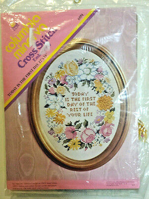 Columbia Minerva Cross Stitch Kit Stamp Design Linen Vtg Today is the First Day