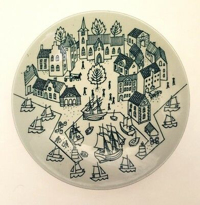 Nymolle Art Faience Hoyrup Dish/Plate Made in Denmark Sail Ships Harbor Houses
