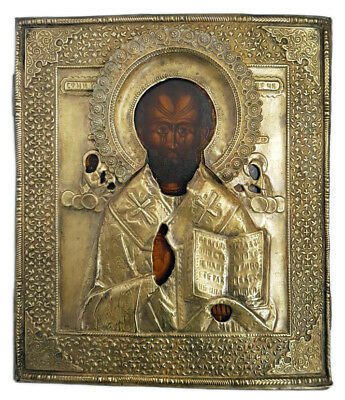 Antique 19th C Russian Wooden Icon (Large 36 cm) of St. Nicholas in Brass Riza