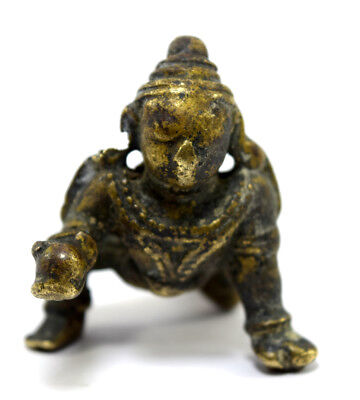 Antique Brass Hindu God Baby Krishna Statue Figure Beautiful decor. G53-112 US