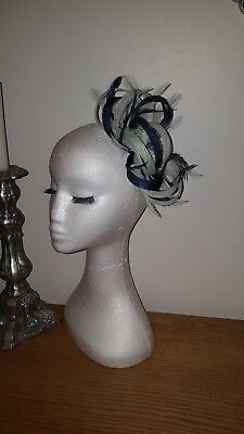 Navy blue and mint green fascinator for wedding/races special occasion