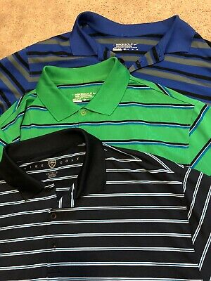 eb58fb0ed Lot of 3 Nike Golf Dri-Fit Short Sleeved 100% Polyester Polo Shirts Men's
