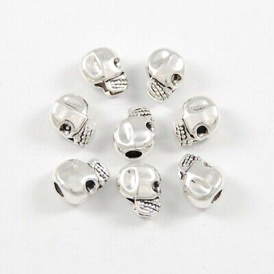 20pcs Antique Silver Skull Head Spacer Beads Jewelry Findings with Big Hole