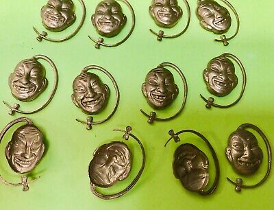 12 Vintage Brass Stampings of a Asian Chinese China Man Face