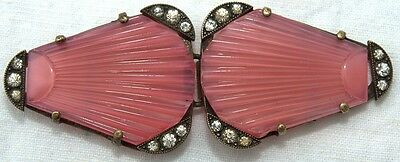 ART DECO CZECH BELT BUCKLE w/ PAINTED GLASS & ROCK CRYSTALS 1940's AWESOME