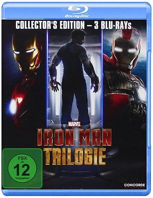 IRON MAN 1-3 (Robert Downey Jr.) 3 Blu-ray Discs NEU+OVP
