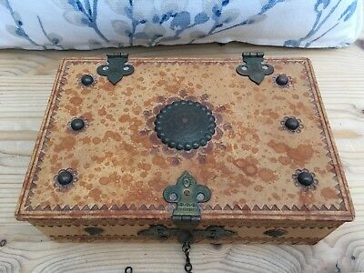 Vintage Ornate Tan Leather Box with Metal Studs & Hinges Lovely Embossed Design