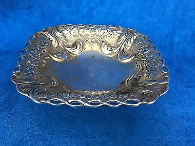 Vintage 925 Sterling Silver Repousse Footed Dish