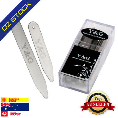 CS3002 24 Pic Silver Brushed Steel Executive Set Collar Stays By (7,5) Y&G