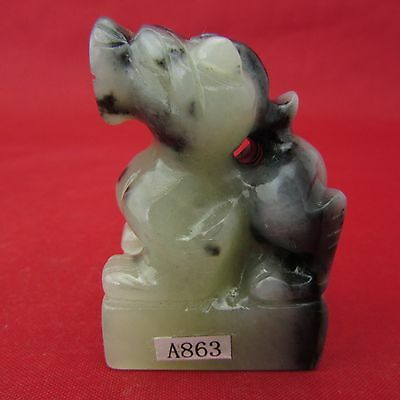 Chinese Jade Hand Carved Dog Statue seal A863