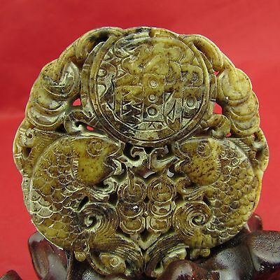 Chinese old jade double fish hand-carved jade pendant amulet double fish B914