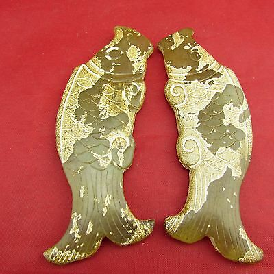 Chinese old one pair of fish   jade hand-carved jade pendants B1181 B1201