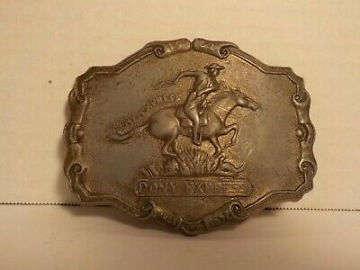 "Vintage 1970's ""1902 Pony Express 50th Anniversary Since 1852"" Brass Belt Buckle"