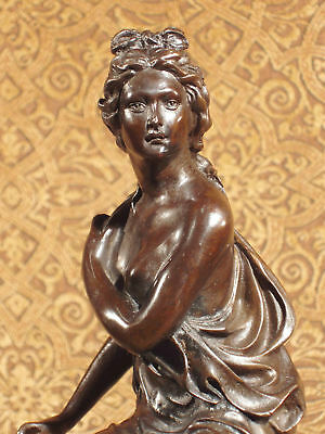 * Rare Bronze Metal Statue on Marble Classical Female Woman Formal Ancient Roman