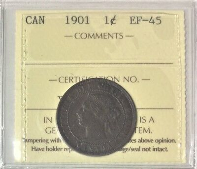 1901 Canada  1 Cent  ICCS Certified EF-45  # 35307