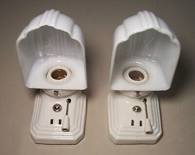 Vtg Porcelain Sconce Wall Light Fixture Bathroom Shade Pair 2 Rewired USA #B61