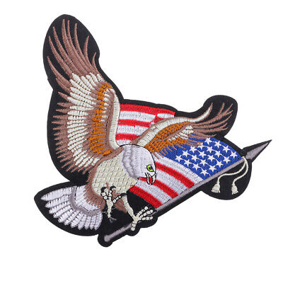 USA Eagle Flag Embroidered Sew On Patch Applique for DIY Jackets Bags Decor