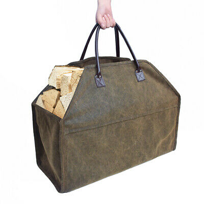 Portable Log Tote Bag Carrier Fireplace Fire Wood Carry Storage Holder Cases