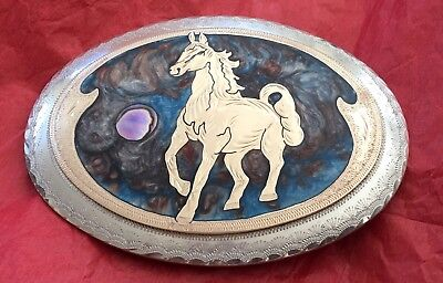 VTG Swirled Enamel Inlay Custom HANDCRAFTED Brass Horse & Abalone BELT BUCKLE