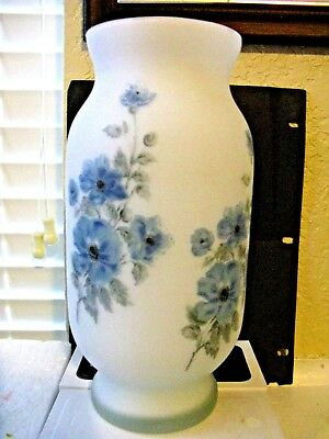 """Norleans Frosted Satin Glass Vase Hand Painted made in  9.5"""""""
