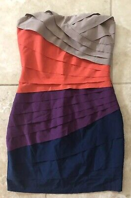 817ace1fee Gianni Bini Blue Purple Coral Ruffled Sheath Dress Size S Small Bodycon  Event