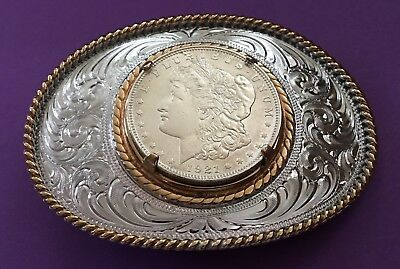 VTG Mint Gem 1921 MORGAN SILVER DOLLAR Montana Silversmiths American BELT BUCKLE