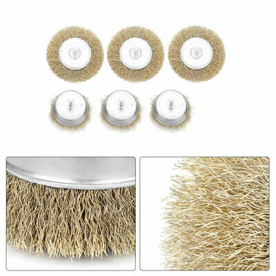 3pcs Metal Wire Wheel Cup Brush Crimped W. 0.24inch Shank For Die Grinder Drill