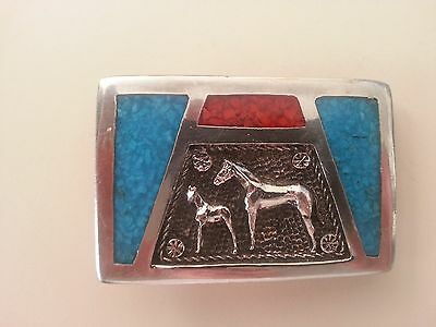 Vintage Tt Western Mare And Foal Turquoise & Red Coral All Silver Belt Buckle