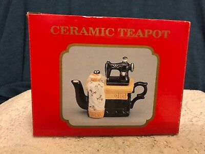 Vintage Teapot - Antique Sewing Machine Ceramic Teapot Made in China 1960s/70s