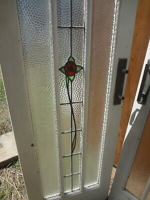 2 x Amazing Antique LEAD LIGHT GLASS FRENCH DOORS