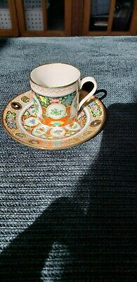 Antique Chinese Canton Famille Rose Tea Cup & Saucer Demitasse small