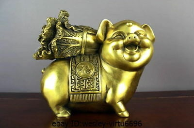 Chinese brass copper Fengshui Money Rich Zodiac Year lucky Pig Cabbage Statue