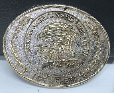 Vintage North American Hunting Club Belt Buckle Life Member Gold Silver Tone