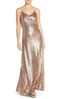 fafd3b5ac7d Jenny Yoo  Jules  Sequin Blouson Gown with Detachable Back Cowl- Size 12 (