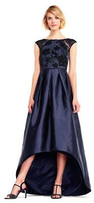 4042f70b6a0 Adrianna Papell High Low Taffeta Ball Gown with Floral Beading-Size 4 (F