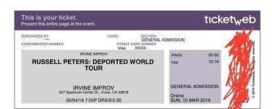 Russell Peters: Deported World Tour Tickets (2) || General Admission || EMAIL