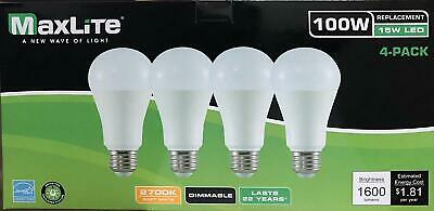 4 Light Bulbs 15W LED  100W Replacement CLF Bulb Soft White 2700k Dimmable E26
