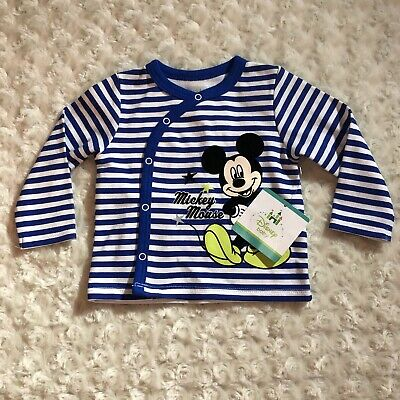 Disney Baby Blue White Striped Shirt Baby Boy Size 3-6 Months Mickey Mouse NWT