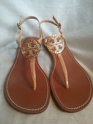 127ab0b600f Tory Burch Violet Flat Sandal Gold Leather Crystal Logo Thongs Sandals 9.5  shoes