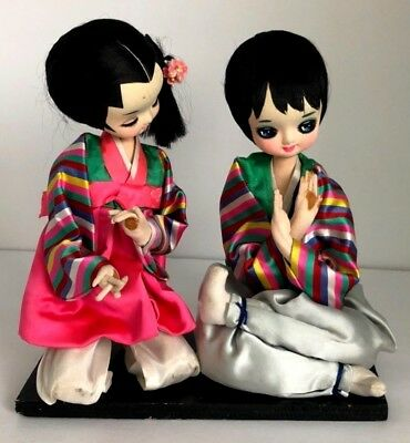 Beautiful Rare Pair Of Antique Japanese Kimono Style Tops Hand Signing Dolls