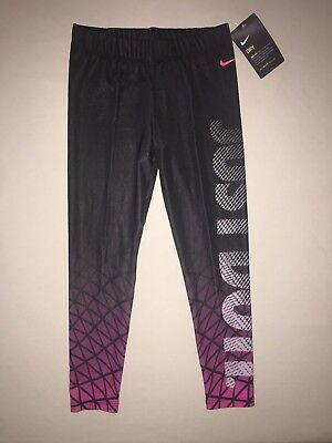 Girls Size 6 x Nike Dri Fit Athletic Leggings Just Do It Running Pants Nwt