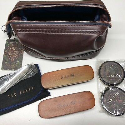 TED BAKER Shoe Shine Kit 6 Pcs Brown Brogue Faux Leather Travel Bag Gift Ideas