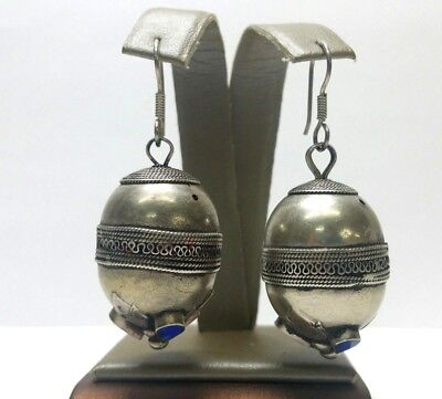 Antique Art Noveau Sterling Silver Lapis Lazuli Inlay Dangle Earrings Hand Made