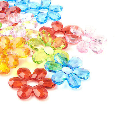 99PCS Transparent Acrylic Links Beads Flower Beads Bracelet Faceted Mixed Color