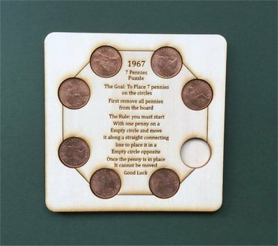 Wooden 7 Pennies Puzzle Brain Teaser 7 Old British Pennies Last Minted 1967 1x