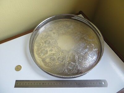 Vintage Retro Viners Round Silver Plate Plated Drinks Gallery Serving Tray 12""