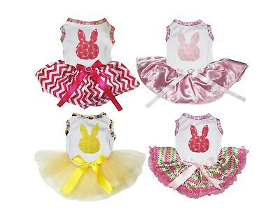 Easter Rose Bunny White Cotton Top Pink Chevron Tutu Pet Dog Dress Puppy Clothes