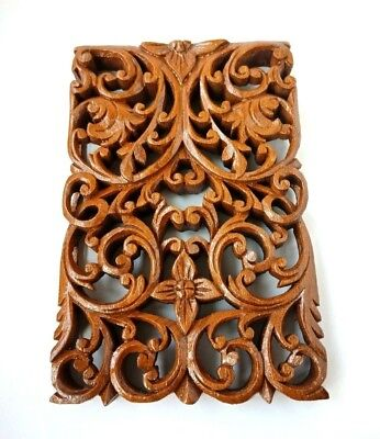 Wooden Unique Teak Wood Asian Thai Carved Perforated Wall Pole Flora Decoration