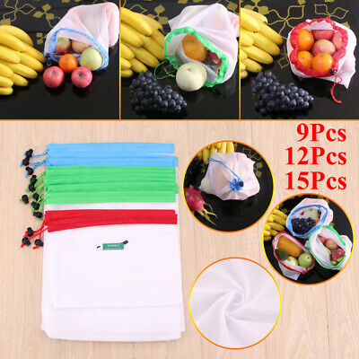 High quality 9/12/15pcs Reusable Mesh Produce Bags Washable Fruit and Veg for...
