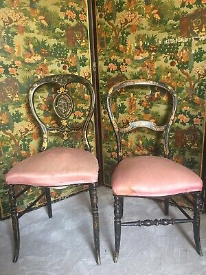 Pair Of Victorian Ebonised Hall Chairs With Inlay Antique